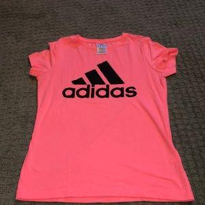 Neon pink adidas Tee